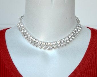 Eisenberg Marquise Rhinestones Choker Necklace Vintage