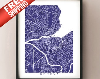 Geneva Map - Switzerland Poster Print