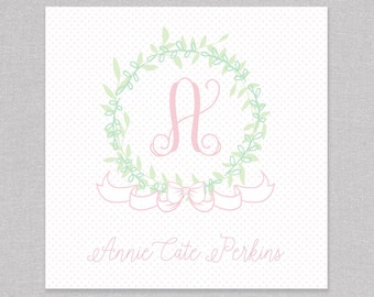 Bitty Dot Wreath Personalized Enclosure Card