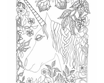 unicorn digital print unicorn gift unicorn coloring art unicorn card unicorn coloring page personalised cards unicorn wall art