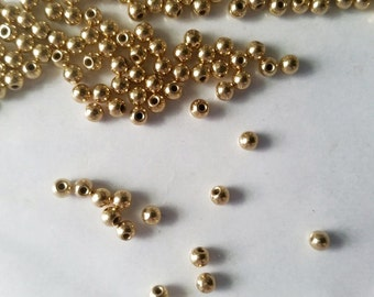 20 Gold Color End Cap Memory Wire Round Beads 3mm Jewelry Supplies GLECB3M-20D1