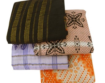 Vintage Lot Of 4 Indian Traditional  Clothing Saree Pure Cotton Fabric Curtain Drape Multicolor 5Yard Sari CSL237