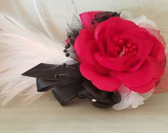 Great Gatsby Boutonniere, Black and red boutonniere, boutonniere, feather boutonniere, white feather boutonniere, boutonniere