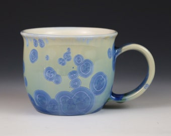 Crystalline 14 oz Mug Teal Blue Seafoam Green with White Cup #0426