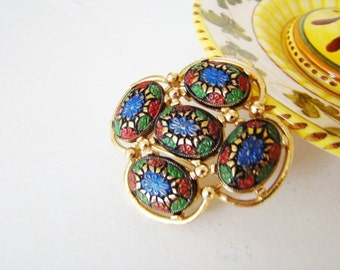 "Vintage Sarah Coventry Pin Back Gold Tone Black Blue Green Red 2"" Diameter Floral Designer Signed Marked"