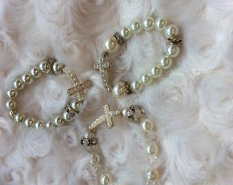 Pearl baby cross bracelet