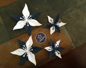 Ivory and Navy Blue Sports Teams Set Of 4 Paper Layered Lily Flower Wedding Decoration Favor Card Making Invitation