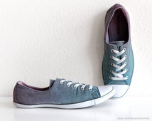 Tweed Converse Lite, vintage grey plimsolls transformed with an ombre dip dye of turquoise and pink, size 40 (UK 6, US wo's 8.5)