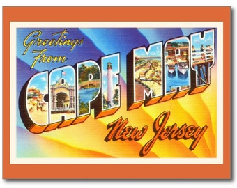 Large Letter Greeting, Cape May, NJ REPRO Vintage Postcard