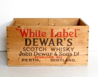 Wood Crate Rustic Box / Scotch Whiskey Crate / Storage Box  / Industrial