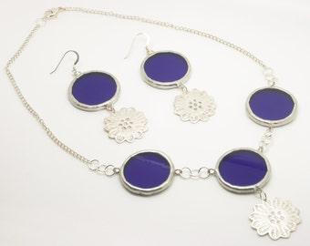 Silver Flower Jewellery, Blue Circle Necklace, Blue Circle Earrings, Matching Jewellery Gift Set, Sterling Silver Jewellery, Gift for her