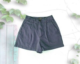 Dusty Purple High Waisted Cotton Shorts with Pleats