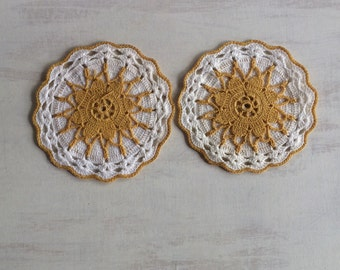 Two Vintage Decorative Crocheted Potholders, Gold & White