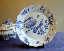 Antique dinnerware, large round platter, blue and white pancake or cake plate, Boch Frères Keramis Paon, BFK dinnerware service