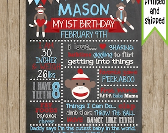 Sock Monkey- PRINTED & SHIPPED- Custom Birthday Chalkboard- Choose Your Size!!