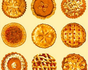 Per Panel, Bake Sale Pies Fabric Light Yellow/Cream Background