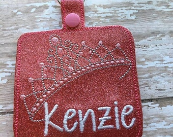 "3.5"" Square - Tiara - Princess  - Bag Tag - 5 x 7 ONLY - DIGITAL Embroidery Design"
