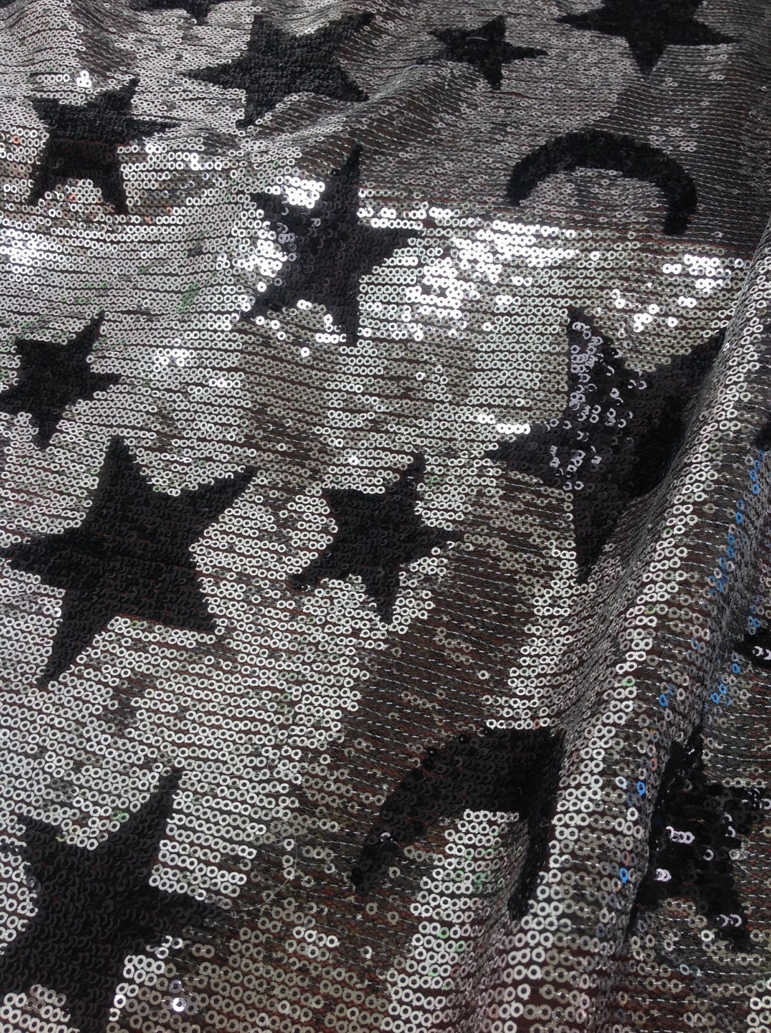 Silver sequin fabric floral moon star sequin fabric dress for Star design fabric