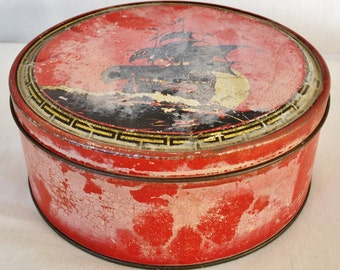 Vintage Chinese Ship Tin Canister