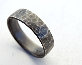 silver wedding band, rustic mens ring, hammered ring silver, mens personalized ring, distressed silver wedding ring, silver promise ring men