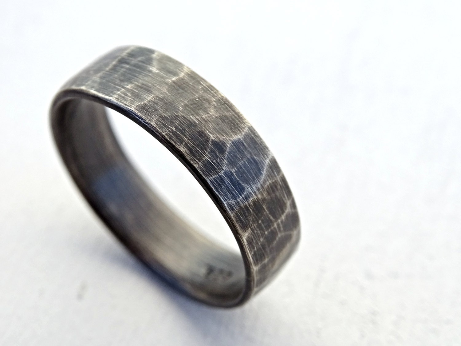 Silver Wedding Band Rustic Mens Ring Hammered Ring Silver