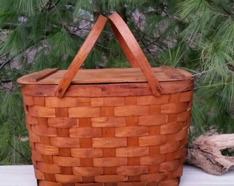 Vintage Woven Splint Wood Picnic Basket with Plates & Cups