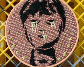 Hand Stitched Leaking Boy Embroidery