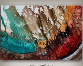 SALE - Large painting red and gold ABSTRACT PAINTING Turquoise Huge Artwork original modern art contemporary home decor multicolor wall hang