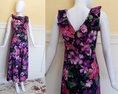 VTG 1970's purple big floral silk crepe crop palazzo pant supermodel ruffled jumpsuit romper small