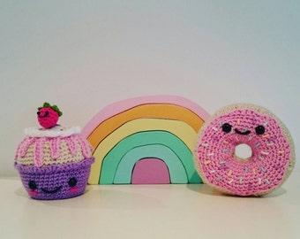 READY TO POST Café Treats Duo. Doughnut and cupcake.