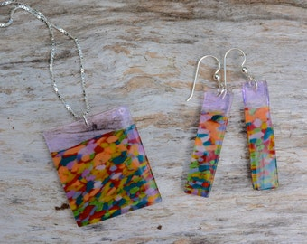 handblown glass mosaic earrings and necklace set