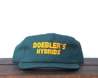 Vintage Doebler Hybrids Corn Seed Farming Trucker Hat Snapback Baseball Cap Made In USA