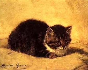 "Henriette Ronner-cat pencil sketch, 8 x 10"" Poster print, Ultra Premium poster Paper. feline sketch, cat print, pet art, FREE ship US"