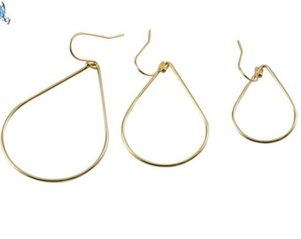 Gold Dangle Earrings, Everyday Minimalist Simple Gold Hoop Earrings, Pear Shape Earrings, Teardrop Shape Earrings, Basic Shape GFER42
