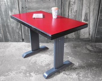 Art Deco Formica Table - French 1930s Red Kitchen Dining