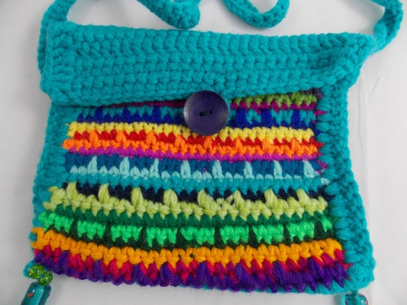 Crochet Back Bag : Bag hippie style crochet turquoise back and multicolour front 19 x 19 ...