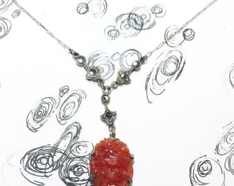 Vintage Carnelian Marcasite Sterling Silver Necklace