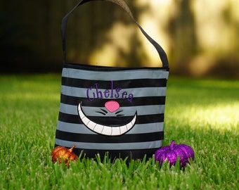 Trick or Treat Bag, Cheshire Cat Costume, Halloween Bag, Cheshire Cat Bag