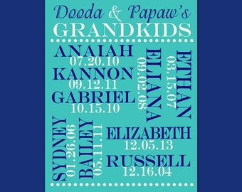Grandchildren Names and Birthdate Print, Personalized Grandparent Gift, Grandparents Christmas Gift, Customized Grandchildren List