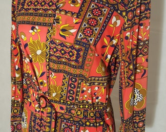 1970s psychedelic floral shirt dress