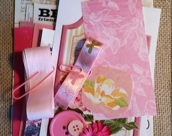 Inspiration Kit; Junk Journal Kit; Scrapbook Kit; Pink Crafting Kit