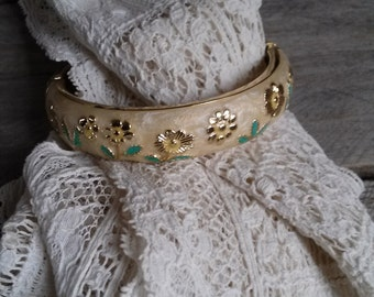 Enameled Floral Bangle - Cream Green & Gold Clamper Bangle