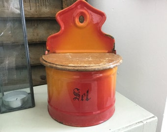 Vintage, Orange, Enamel, Salt Box