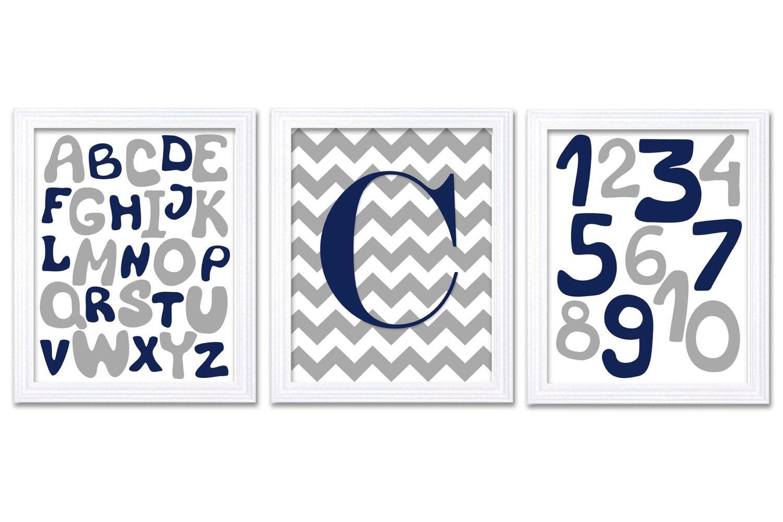 Navy Blue Grey Nursery Art Print Set of 3 Alphabet Numbers ABC 123 Custom Letter Monogram Personaliz