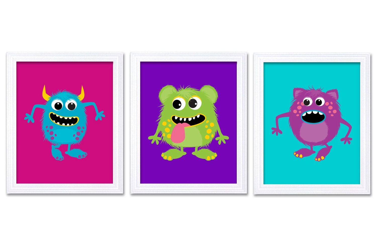 Colorful Monster Nursery Art Set of 3 Prints Blue Green Purple Pink Child Art Kids Wall Art Baby Kid