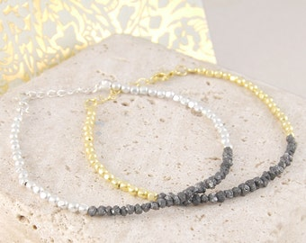 Rough Diamond Bracelet, Black Diamond Bracelet, Silver Bracelet, Gold Bracelet, Fine Diamond, Bead Bracelet, Diamond Jewelry, Fine Jewelry