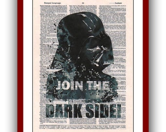 Star Wars Poster Darth Vader Print Join the Dark Side  Art Print 8x10  upcycled  dictionary pages  Art Print Wall Decor