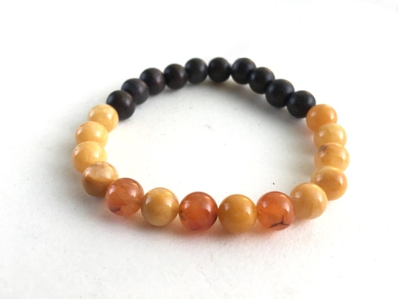 Peach Aventurine and Wood Stretch Bracelet // Gifts for Her // Stocking Stuffer