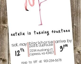 Birthday Invitation- Flamingo, Simple Cute font & Polka dots