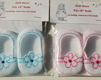 "Embroidered Flower Felt Shoes with button accent for 18"" dolls including American dolls"